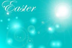 Wielkanocna pocztówka z jajkami i życzeniami wektor ilustracji
