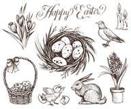 Wielkanocna ręka rysować rocznik wektorowe ilustracje ustawiać royalty ilustracja