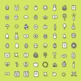 Wielkanocna ręka rysująca ikony kolekcja Zdjęcie Royalty Free