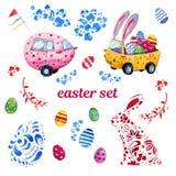 Wielkanocna ręka rysujący akwarela set z Easter samochodami royalty ilustracja