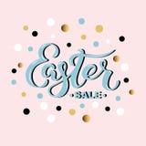 Wielkanocna ręka rysujący sprzedaży literowanie dla karty, sztandar, logo, odznaka, sieć, plakat, sklep Fotografia Stock