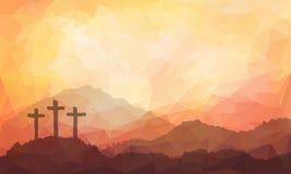 Wielkanocna scena z krzyżem Jezus Chrystus akwareli wektoru ilustracja Obrazy Stock