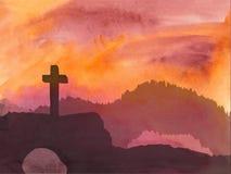 Wielkanocna scena z krzyżem Jezus Chrystus akwareli wektoru ilustracja Obrazy Royalty Free