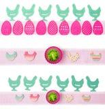 Wielkanocne dekoracje, trzy sztandaru Zdjęcia Stock