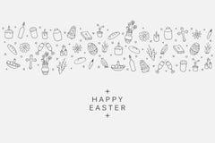Wielkanocne element ikony - sztandaru tło w doodle stylu Fotografia Royalty Free