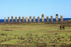Wielkanocne Wyspy Moai Statuy Zdjęcie Royalty Free