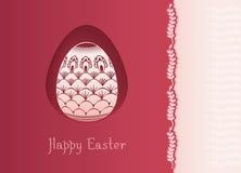Wielkanocnego jajka karciany projekt z ludową dekoracją Fotografia Stock