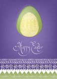 Wielkanocnego jajka karciany projekt z ludową dekoracją Obrazy Royalty Free