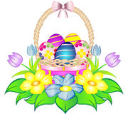 Wielkanocnego jajka kosz z kwiatami ilustracji