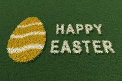 Wielkanocnego jajka kształt i Szczęśliwy Wielkanocny wyrażenie z kwiatami, zdjęcia stock