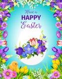 Wielkanocnego jajka kwiecisty kartka z pozdrowieniami z kwiat ramą Obrazy Royalty Free