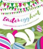 Wielkanocnego jajka polowania płaski projekt z królikiem, chorągiewką i Easter jajkami, Zdjęcie Royalty Free