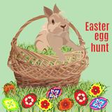 Wielkanocnego jajka polowania sztandaru plakatowy szablon, wektorowa ilustracja ilustracji