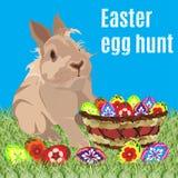 Wielkanocnego jajka polowania sztandaru plakatowy szablon, wektorowa ilustracja ilustracja wektor