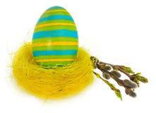 Wielkanocnego jajka ręka malująca w żółtym ptasim ` s gniazdeczku z kwitnienie gałązką Fotografia Royalty Free