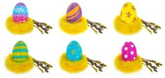 Wielkanocnego jajka ręka malująca w żółtym ptasim ` s gniazdeczku z kwitnienie gałązką Obraz Royalty Free