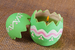 Wielkanocnego jajka świeczka, płomień Zdjęcia Royalty Free