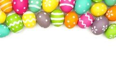 Wielkanocnego jajka wierzchołka granica na bielu Obraz Stock