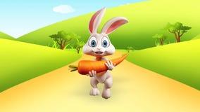 Wielkanocnego królika bieg z dużą marchewką Zdjęcie Stock