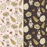 Wielkanocnego królika Doodle wektoru Ilustracyjny wzór Obrazy Stock