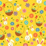 Wielkanocnego królika jajka Tapetowy Bezszwowy Deseniowy Backgrou i wiosna royalty ilustracja
