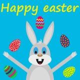 Wielkanocnego królika karta z jajkami ilustracja wektor