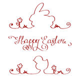 Wielkanocnego królika kurczaka kontur Zdjęcia Stock