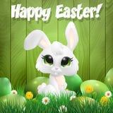 Wielkanocnego królika obsiadanie wśród estrowych jajek ilustracja wektor