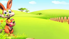Wielkanocnego królika odprowadzenie z jajkami Obrazy Royalty Free