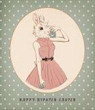 Wielkanocnego królika dziewczyna z jajkiem i kamerą Zdjęcie Stock