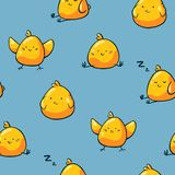 Wielkanocnego kurczaka bezszwowy wzór na błękitnym tle Śliczni doodle kurczaka charaktery T?o dla opakunkowego papieru, dzieciak ilustracji