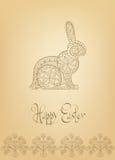 Wielkanocnego ludowego ornamentu królika pociągany ręcznie typografia Obraz Royalty Free