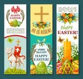 Wielkanocnego wiosna wakacyjnego świątecznego sztandaru ustalony projekt Obraz Royalty Free