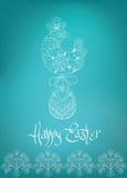 Wielkanocnej karty etniczna pisklęca pociągany ręcznie typografia Zdjęcie Stock