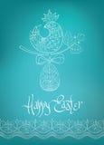 Wielkanocnej karty etniczna pisklęca pociągany ręcznie typografia Zdjęcia Royalty Free