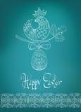 Wielkanocnej karty etniczna pisklęca pociągany ręcznie typografia Fotografia Stock