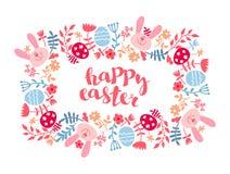 Wielkanocnej karty szablon z barwionymi jajkami Kwadratowa rama z Easter jajkami, królik, kwitnie ilustracji