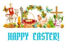 Wielkanocnej wiosny kreskówki sztandaru wakacyjny projekt Obrazy Stock