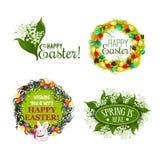 Wielkanocnej wiosny kreskówki wakacyjnej odznaki ustalony projekt Obraz Royalty Free