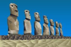 Wielkanocnej wyspy statuy ilustracja wektor