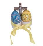 Wielkanocni błękitni i żółci jajka Obrazy Stock