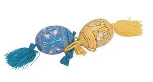 Wielkanocni błękitni i żółci jajka horizontally Obrazy Royalty Free