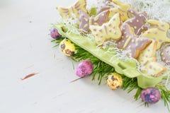 Wielkanocni ciastka i jajka z trawą Fotografia Stock