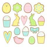 Wielkanocni ciastka inkasowi Ciastka różne formy odizolowywać na białym tle royalty ilustracja