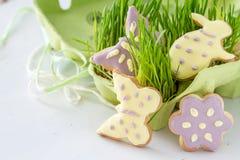 Wielkanocni ciastka z trawą Obraz Stock