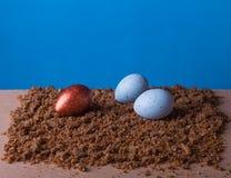 Wielkanocni jajka brąz i błękit Zdjęcia Royalty Free