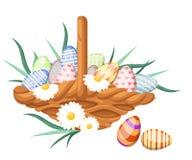 Wielkanocni jajka dla Wielkanocnego wakacje projekta na białym tle Płaska projekta stylu ilustracja Obraz Stock