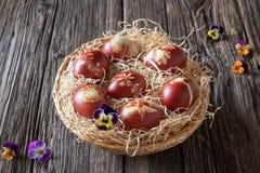 Wielkanocni jajka farbujący z cebulkowymi łupami z wzorem ziele obraz stock
