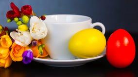 Wielkanocni jajka i frezja Obrazy Royalty Free