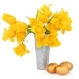 Wielkanocni jajka i tulipany Fotografia Royalty Free